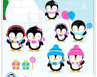 Penguin Clipart / Winter penguin wonderland digital clipart / Penguin Clip art / Winter Penguins Clipart For personal and comercial use