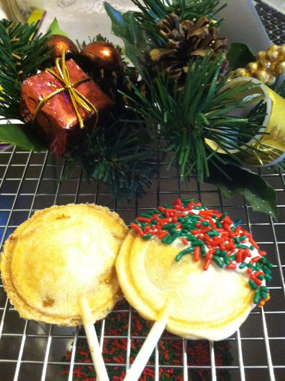 Christmas Holiday Pie Pops, Mini Pies - 1/2 dozen Chocolate Tip Dipped