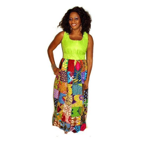 Green Batik And Ankara Print Long Dress With Empire Silhouette