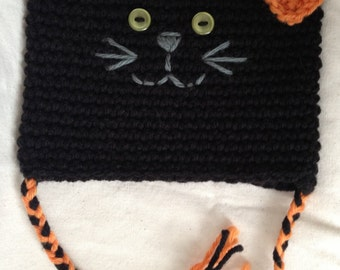 Halloween Kitty Hat, made to order sizes preemie-12 years