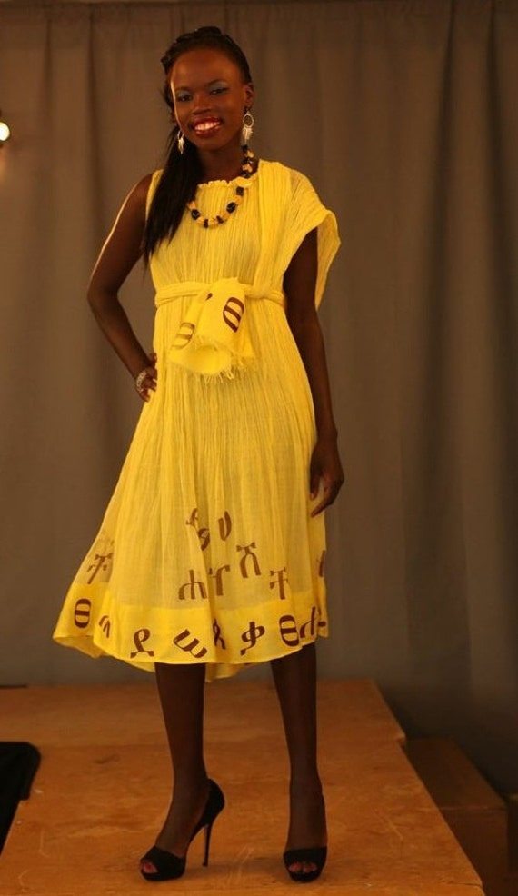 Beautiful Yellow Ethiopian Dress Necklace Also Available At