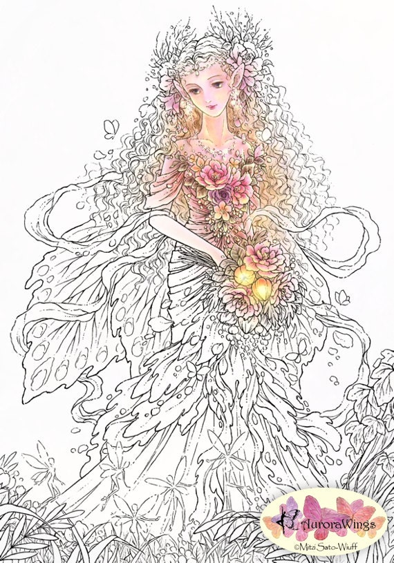 Digital Stamp - Lady of the Forest - Elf Queen in Beautiful Dress - coloring - Fantasy Line Art for Cards & Crafts by Mitzi Sato-Wiuff