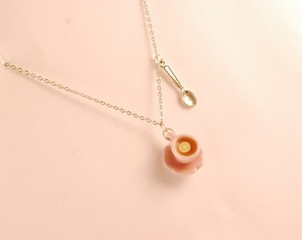 cup of tea necklace - food jewelry