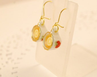tea cup earrings - tea party - food jewelry