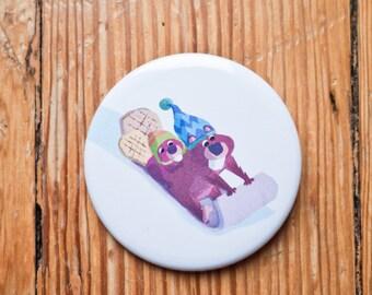 Beaver button/ Beaver pinback / Beaver badge / stocking stuffer /Beaver pinback button