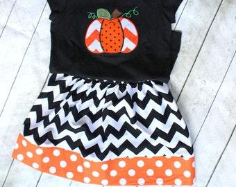 Halloween skirt chevron skirt chevron and polka dot black chevron and orange polka dot skirt girls girl toddler halloween clothing