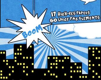 Comic Book Super Hero Digital Scrapbook Paper Blue Orange Black White Manga KIT - 17 12x12 inch Papers -- 300 DPI -- 60 large PNG Elements