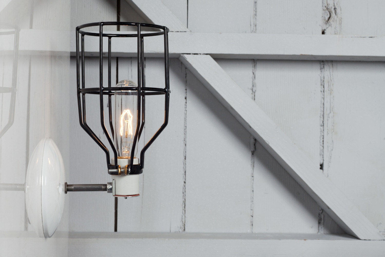 Wall Sconce With Cage : Industrial Wall Light Black Wire Cage Wall Sconce Light