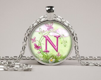 Monogram Butterfly Flower Pendant Necklace or Keyring Art Print Jewelry Charm Gifts for Her or Him Alphabet Personalized Initial Letter