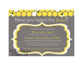 """Bee themed baby shower or gender reveal invite- 5x7"""" Printable"""