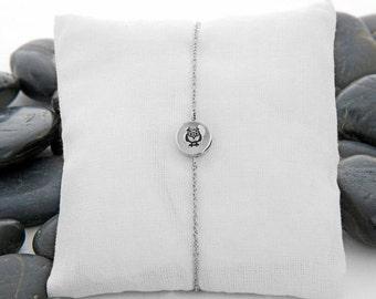 Owl Sterling Silver Bracelet, Owl Charm, Owl Bracelet, Silver Owl, Owl Gift Idea, JIB246MSS