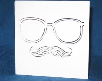 Mustache & Glasses Card, Hand Cut Card