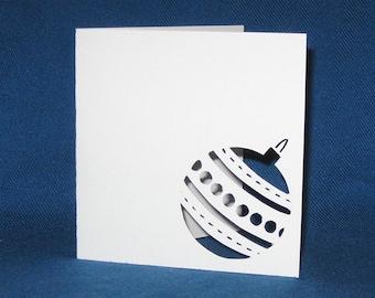 Hand Cut Christmas Ornament Card