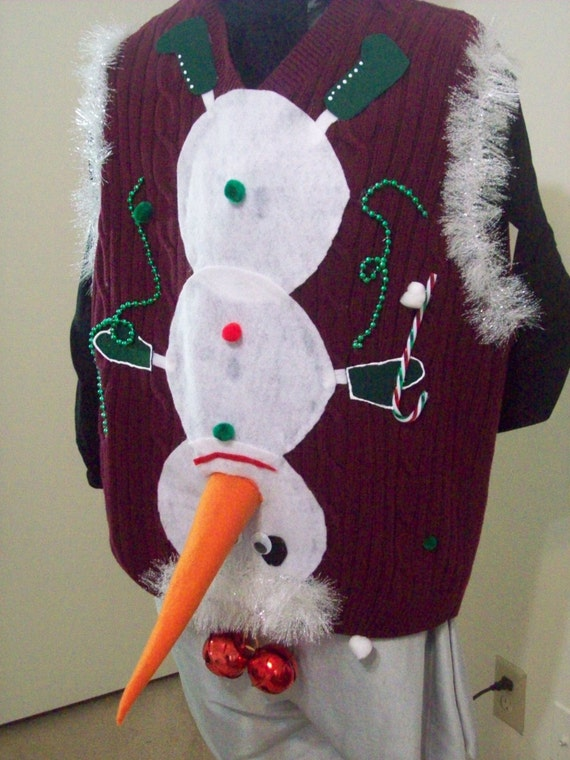 Naughty Ugly Christmas Sweater Vest Men by FunnyHolidaySweaters