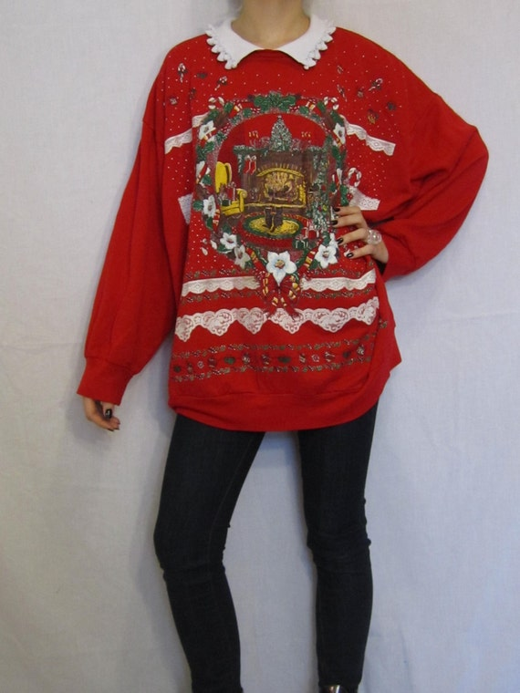 Ugly Christmas Sweater Vintage 80s Oversize Cat Sweatshirt