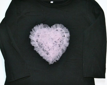 Valentine's Day Long Sleeve Cotton Black tops w/ Chiffon Heart in Pink for Girls!