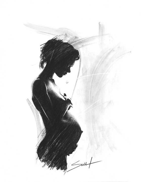 Pregnant Woman Drawing - Lesbian Couples With Man-1005