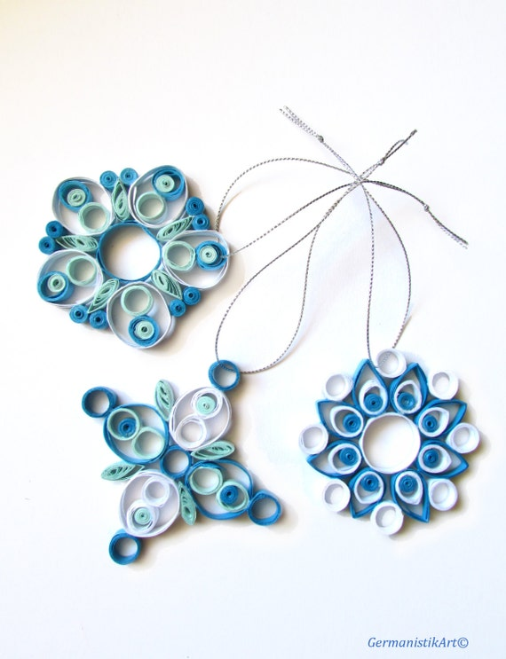 Quilled snowflake set christmas decoration by germanistikart for Decoration quilling
