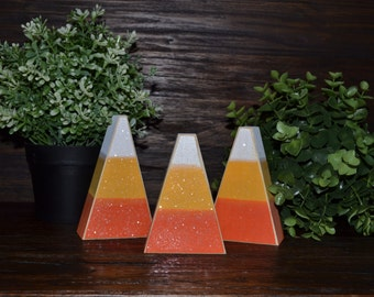 Candy Corn Halloween Decor, Shelf Sitter, Chunky Candy Corn Mantle Decoration, Primitive Halloween Decorations, Candy Corn Block Set