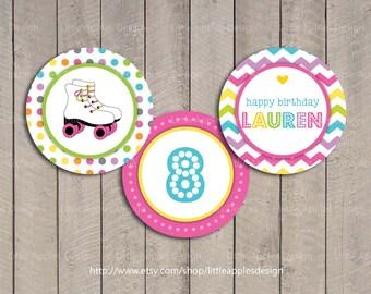 Roller Skate Cupcake Toppers / Roller Skate Party Circles / Roller Skate Decoration / Roller Skate Birthday / Roller Skate Printable