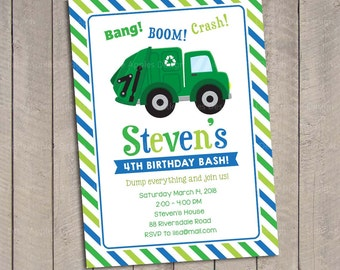 Garbage Truck Invitation / Garbage Truck invitation / Garbage Truck Birthday Invitation / Garbage Truck Birthday / Garbage Truck Printable