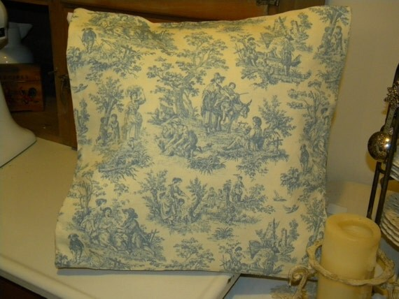 Shabby Chic Blue Pillows : Blue French Toile Shabby Chic Pillow cover Romantic Pillow