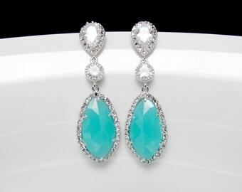 mint statement earrings , long mint earrings , bridal mint earrings , silver sea foam earrings , aqua bridal earrings , long bridal earrings