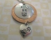 I HEART My CAT - Hand Stamped Cat Owner Necklace - Cat Lover - Cat Face and Paw Prints