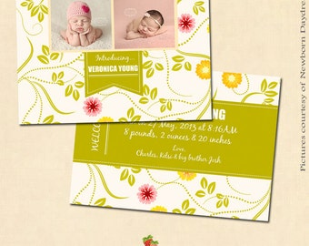 INSTANT DOWNLOAD 5x7 Birth Announcement Card Template - CA116