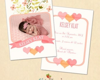 INSTANT DOWNLOAD 5x7 Birth announcement card template - CA319