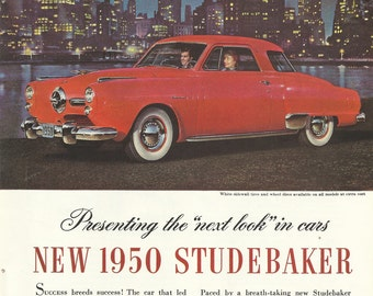 1950 Studebaker Automobile Original 1949 Vintage Print Ad Color Photo Red Car Woman Driver; New York City Nighttime Skyscraper Skyline