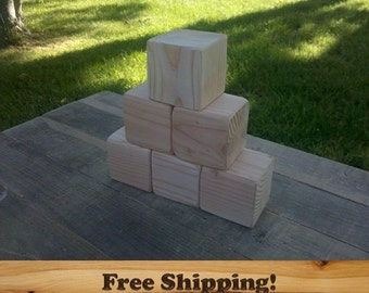20 Fir Wood Blocks, All Natural Baby blocks, Baby Shower Activity, 3 Inch Square Wooden Building Block Set