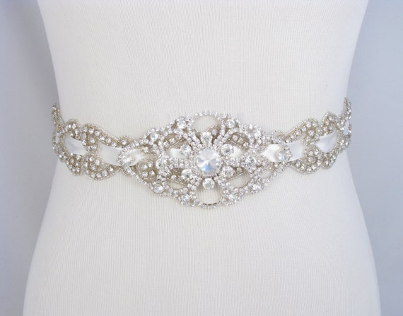 Items similar to wedding dress sash satin ribbon bridal for How to make a beaded belt for a wedding dress