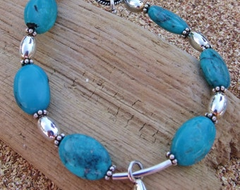 Genuine Turquoise & Sterling Silver Bracelet