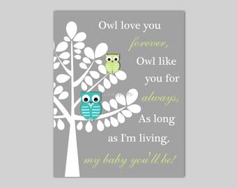 Owl Nursery Art Owl Wall Art Owl Love You Forever Nursery Print Owl Nursery Bedding Decor - Choose Your Colors - 11 X 14 Print OW1508