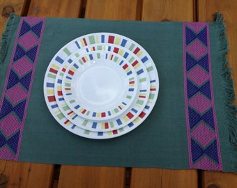 Handwoven and Embroidered Placemat - Teal with Pink