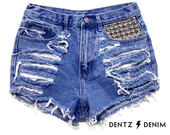 High Waisted Blue Denim Shorts - Front Pocket Stud / Shredded - Blue Jean Shorts - Plus thru Petite Size