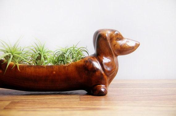 Vintage Ceramic Dachshund Planter Wiener Dog Kitchen Caddy