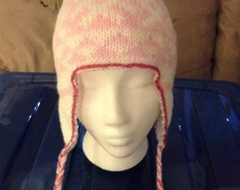 Ear Flap Hat with Snowflake & Triangle Design