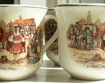 Vintage Tea Cups and Saucers 'Ye Olden Day' 1940s