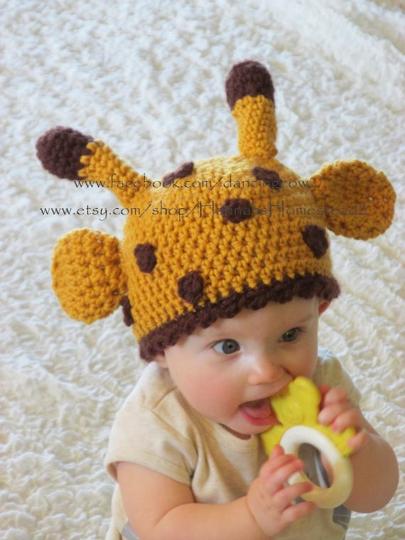 Crochet Giraffe Hat Pattern For Dogs : Items similar to Giraffe Hat, Crochet, Animal Hat, Hannahs ...