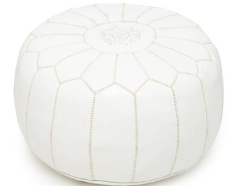 Set of 2 Moroccan Poufs Designer Snow White luxury Leather Poufs Hand Stitched and Embroidered