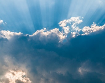 Light rays and a cloud - Nature Photography Fine Art Print or Wrapped Canvas Home Decor