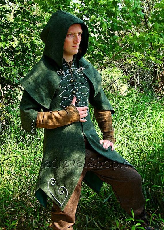 Forest Ranger Fantasy Coat with hood beautiful LARP coat