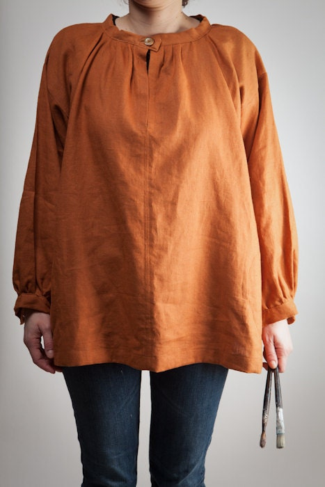 painter's smock - pure linen - woman - rust - hand made