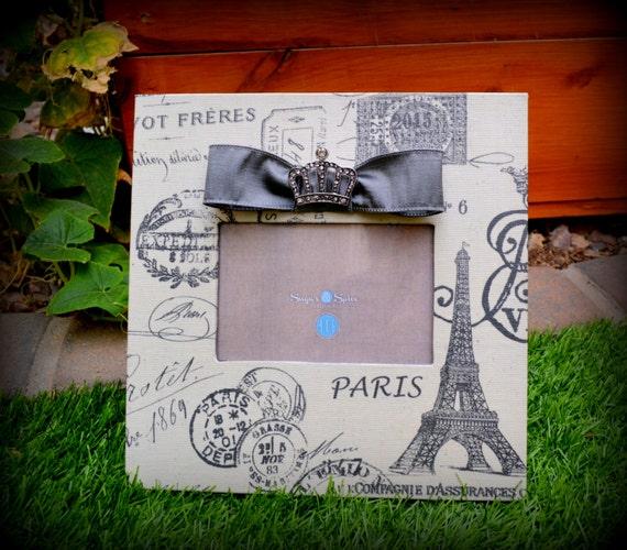 Paris Picture Frame Eiffel Tower: Paris/ Eiffel Tower/ Picture Frame/ Bow & By