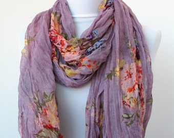 ON SALE - Lilac Floral Fashion Scarf - Multicolor Scarf - Trendy Fabric Scarf - Shawl Flower Garden - 233