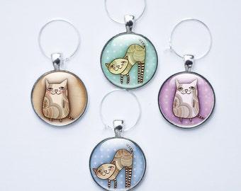Cat Wine charms - Cat wine glass charms - 4 Cat Wine Charms (CAT 5)