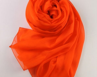 Orange Red Silk Scarf - Tomato Red Silk Chiffon Scarf - AS14