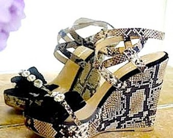 Italian Strappy Snakeskin High Heel Sandals made in Rome